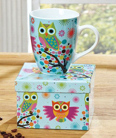 Ceramic Cheerful Owl Coffee Mug Cup With Matching Gift Bo.