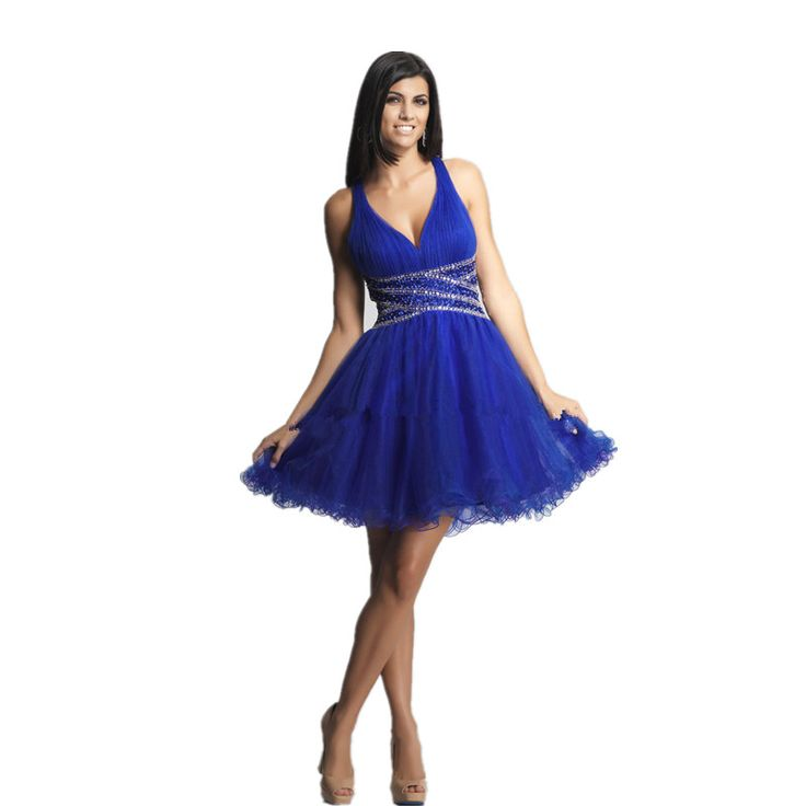 sexy Backless Homecoming dress Short halter beaded cocktail party dress in Royal Blue