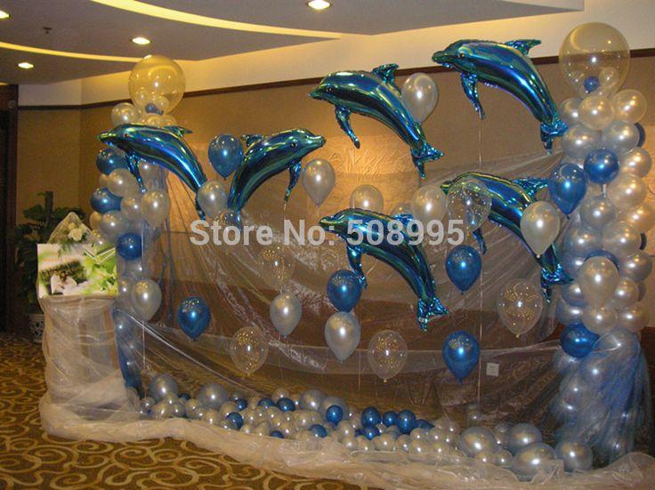 10p Большой розовый Blue Dolphin Фольга гелием воздушный шар День Рождения Свадебные украшения сада Детский комплимент Любимый игрушки Горячая продажа