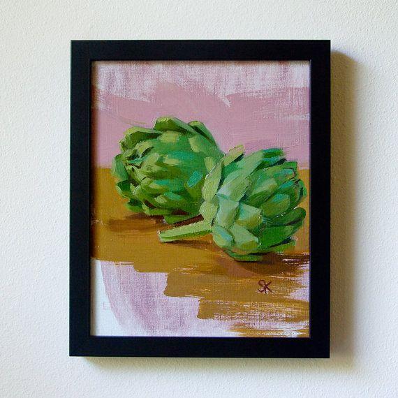 artichoke kitchen art painting print 8 x 10  by MadAboutHue, $25.00