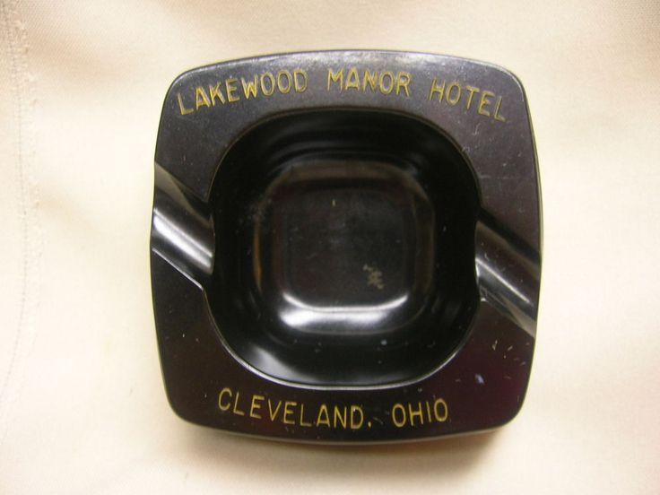 Vintage Advertising Ashtray Lakewood Manor Hotel Cleveland, Ohio The Jet Plastic