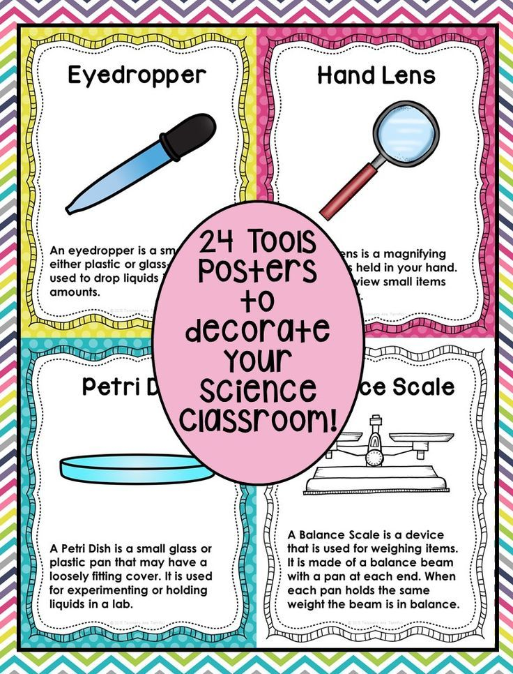 SCIENCE TOOLS POSTERS! Set of 24 posters in full color and a set in black and white. Great for a science classroom display! Pastel Bright colors!