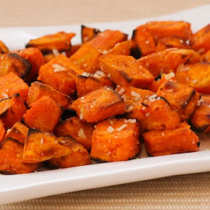 Roasted Sweet Potatoes Recipe with Double Truffle Flavor and Parmesan Recipe Side Dishes with sweet potatoes, olive oil, ground black pepper, truffle oil, truffle salt, grated parmesan cheese, sea salt