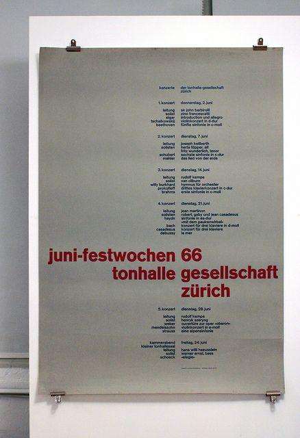 Juni-festwochen 1966 - Tonhalle Gesellschaft Zürich    Design: Josef Müller-Brockmann 1966
