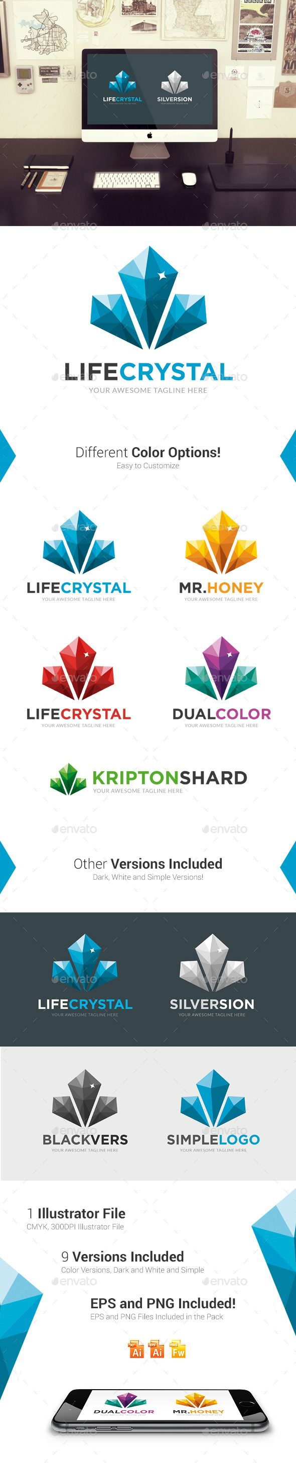 Life Crystal   Logo Design Template Vector #logotype Download it here: http://graphicriver.net/item/life-crystal-logo-template/10459351?s_rank=1434?ref=nesto
