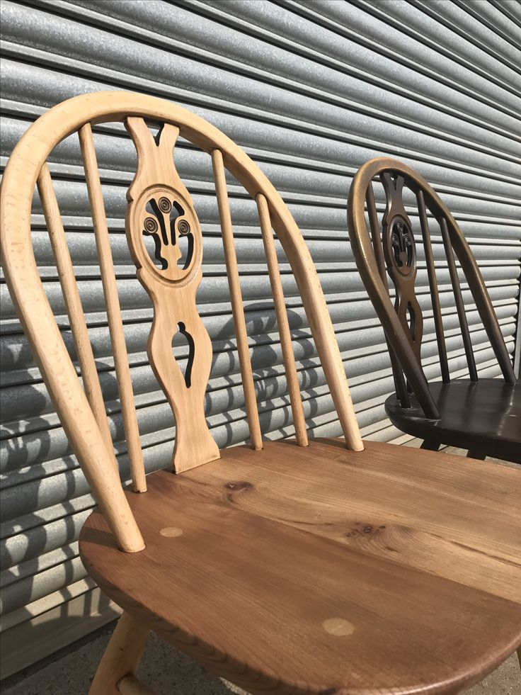 Fleur de lys dining chairs - one sanded back to blonde the other original