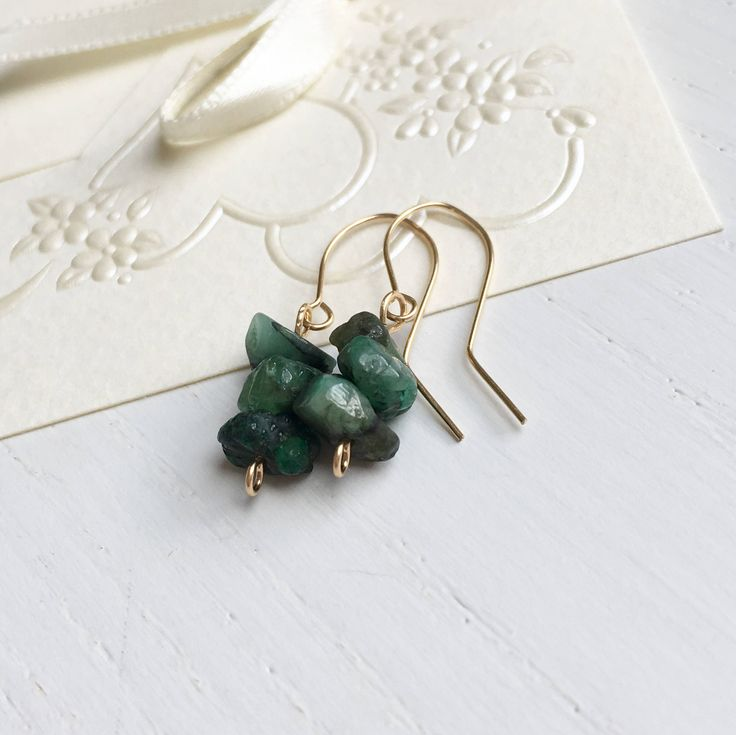 Emerald earrings in 14k gold filled settings:  Emerald Earrings, Natural Emerald, Green Stone Earrings, Polished Emerald, Raw Emerald Jewelry, May Birthday Gifts, Gift For Her, UK Shops by MadeByMissM on Etsy