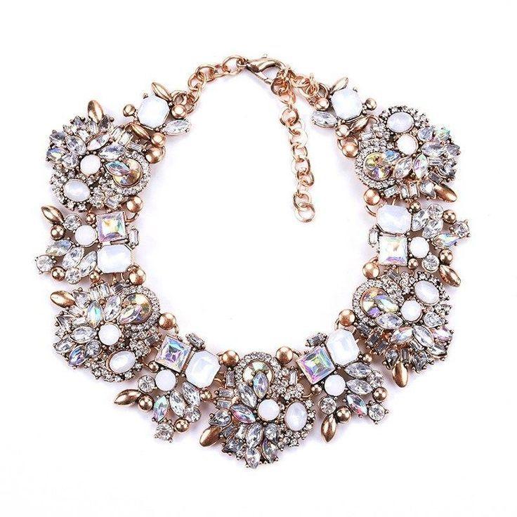 Huge Large Bib Pendant Choker Big Clear Gem Crystal Rhinestone Necklace