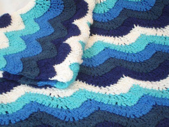 Crochet Ocean Wave : Ocean waves crochet blanket in beautiful blues