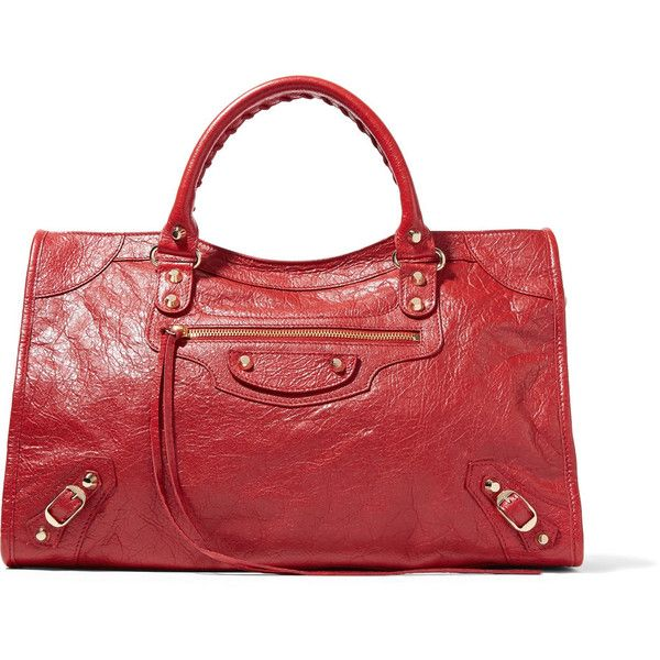 Balenciaga Classic City textured-leather tote ($1,605) ❤ liked on Polyvore featuring bags, handbags, tote bags, red, tote handbags, balenciaga tote, studded handbags, red tote bag and red purse