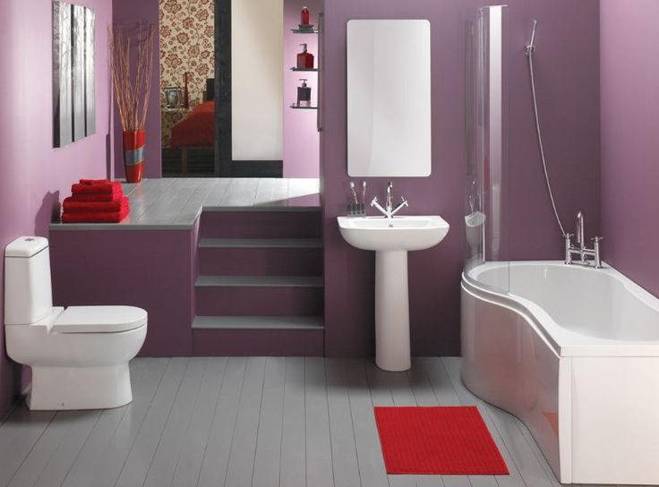 lavender bathroom design with purple wall paint color ideas overlooking with stylish white bathtub