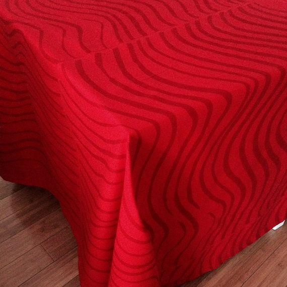 Modern tablecloth red Marimekko Silkkikuikka  cotton