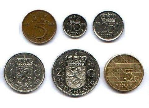 Dutch coins: stuiver, dubbeltje, kwartje, gulden (piek) en een rijksdaalder (knaak)