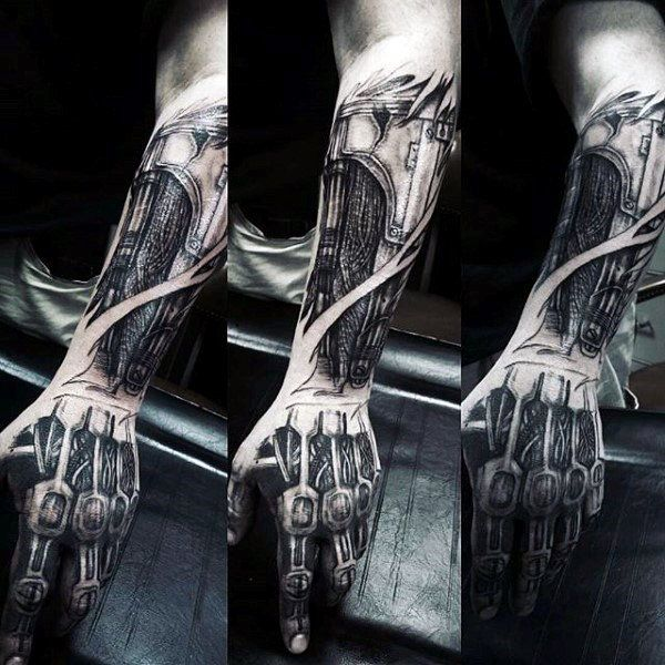 60 Terminator Tattoo Designs For Men Manly Mechanical Ink Ideas Terminator Tattoo Cyborg Tattoo Biomechanical Tattoo