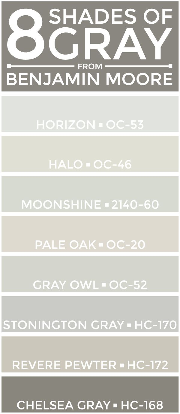 eight great shades of gray from @benjamin_moore -- perfect for a neutral color palette.