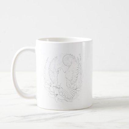 White peace pigeon sitting on a flower coffee mug - wedding decor marriage design diy cyo party idea
