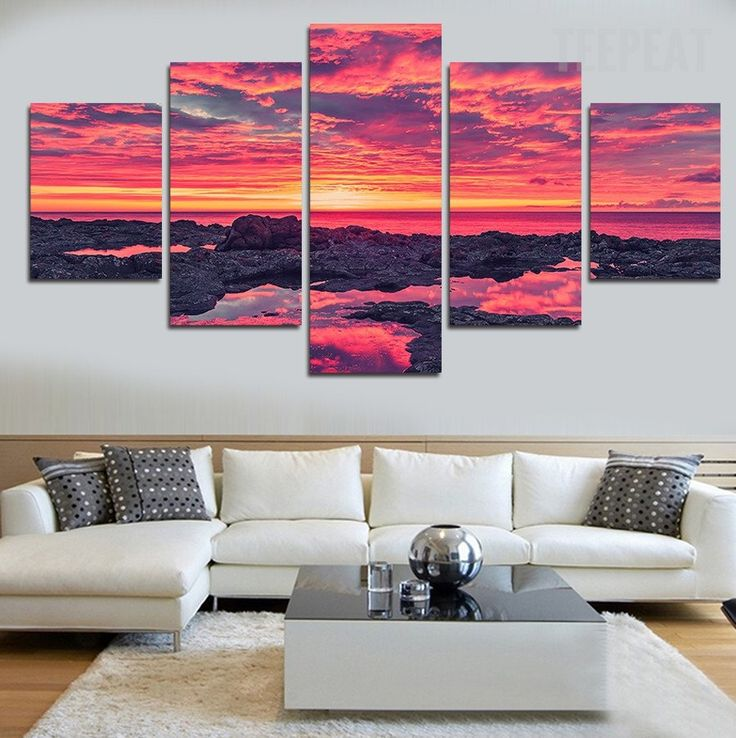 Sunset by the beach painting 5 piece canvas