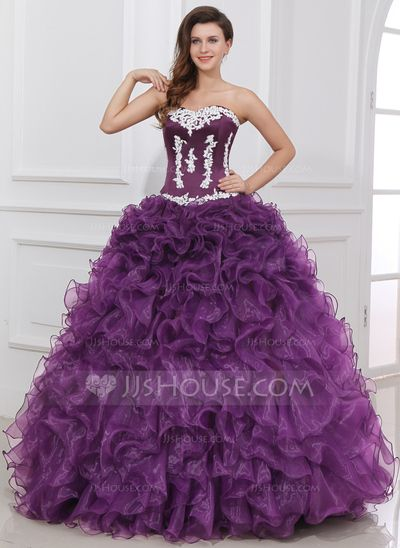 Quinceanera Dresses – $246.69 – Ball-Gown Sweetheart Floor-Length Organza Satin …