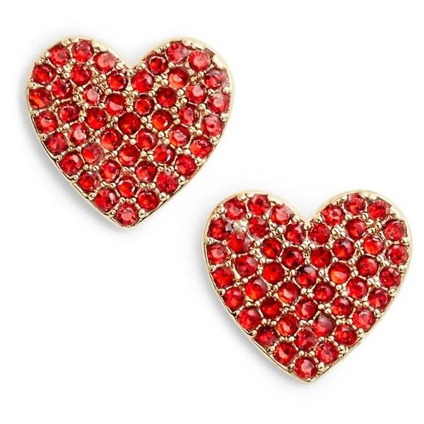 Women's Kate Spade New York Yours Truly Pave Heart Stud Earrings (160 BRL) ❤ liked on Polyvore featuring jewelry, earrings, red, fancy earrings, cz stud earrings, sparkly stud earrings, heart shaped stud earrings and cubic zirconia stud earrings