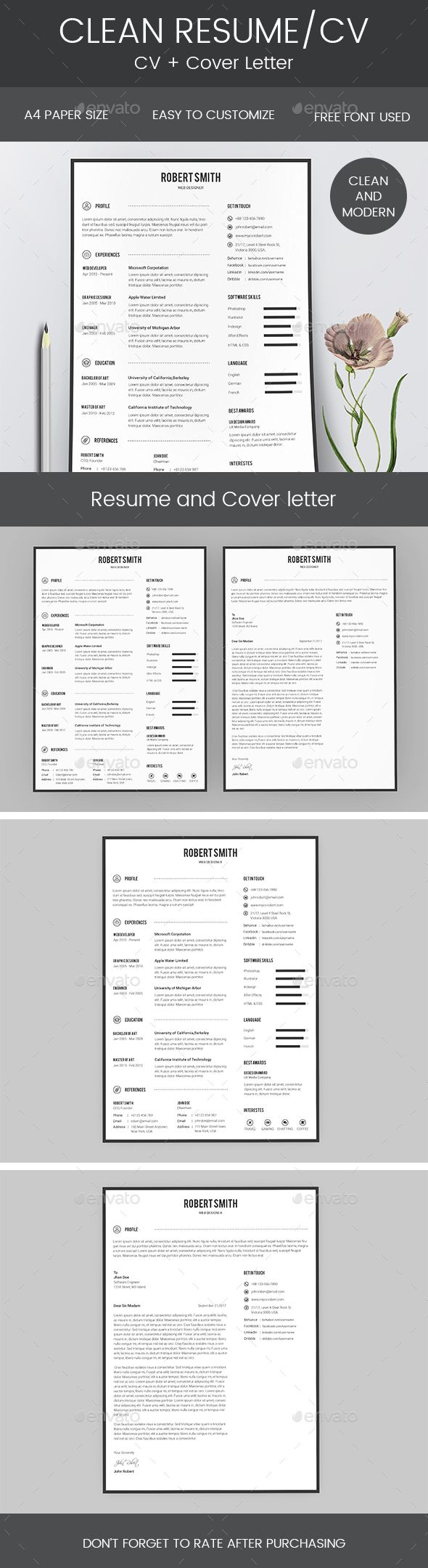 """Description: """"Hello and Thank You for purchasing my file. If you need any help using it pleasefeel free to contact me via my Graphic River profile"""" Features: Easy CustomizationClean & ModernPixel perfact Dimension ¨C 8.5 inch X 11 inch Free fonts & IconsCMYK Color Print Ready Format Icon:Font Awesome"""