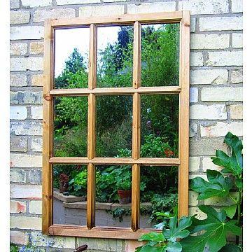 Georgian window style garden mirror