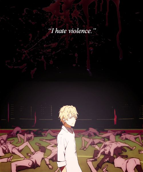 Shizuo Heiwajima, he hates violence. (Durarara!!)