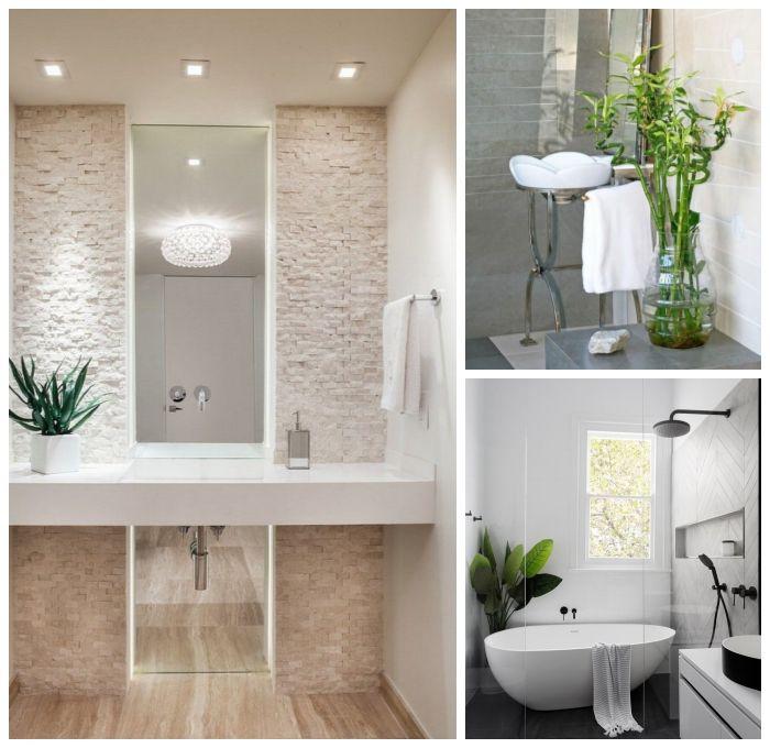 Badezimmer Dekorieren 3d Paneel Wand Kleines Bad Einrichten Langer Spiegel Pflanzen Bambus In 2020 Haus Deko Kleines Bad Einrichten Bad Einrichten