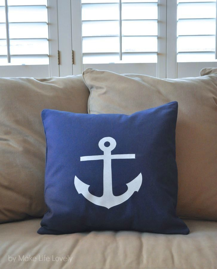 DIY Anchor Pillow + Free Printable - Make Life Lovely