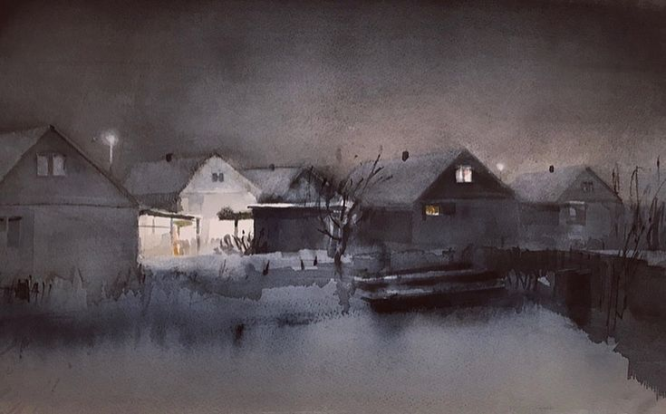 'January evening', watercolor by Magnus Petersson.