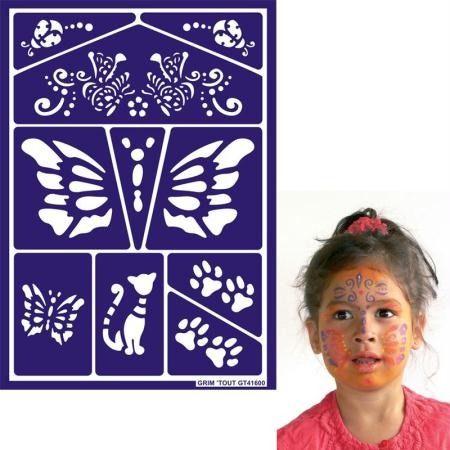 Pochoir maquillage adhésif Grim'tout Chat et Papillon : Fête et Déguisement par petit-monde