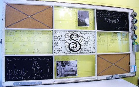 fabulous finds of the week which do you want to try, chalkboard paint, crafts, painted furniture, This window messaging center is by Cyndi I was thinking about used windows because I had just seen Terry M s window pergola Cyndi says you can do any panels you want this one has a chalk board bulletin boards and dry erase boards but you can really get creative She provides really thorough instrutions on how to make this here
