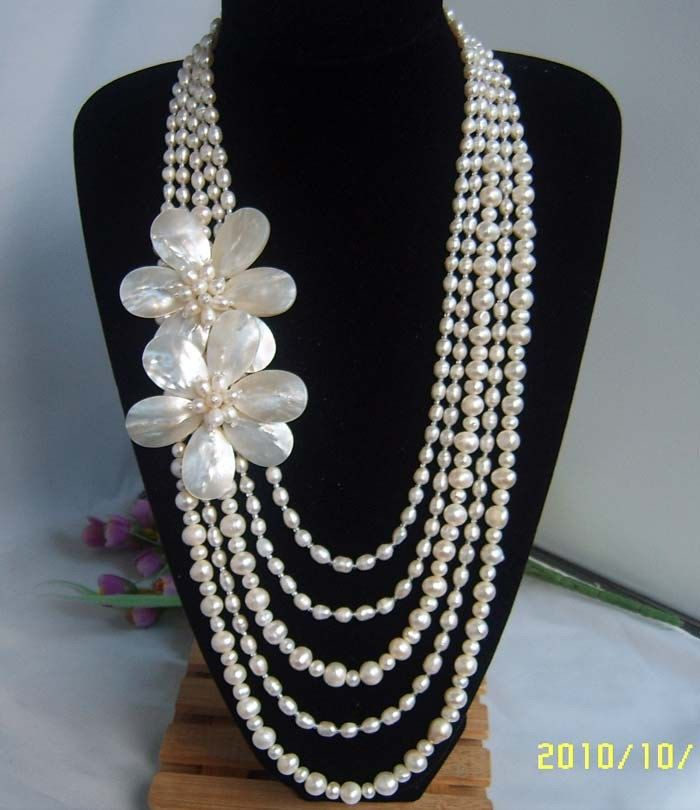 Bead Necklace,Beaded Jewelry,Party Jewelry,Multi-Strand Pearl Necklace With Freshwater Pearl MOP Shell Flower.