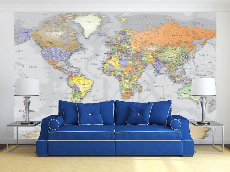 Detailed Gray Oceans World Political Map Mural
