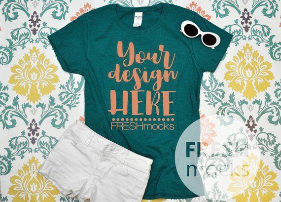 9a6e5e4e Gildan G500L Ladies Tshirt T-Shirt Tee MOCKUP - Ladies Antique Jade Dome  Tshirt Mock Up on Damask Background - Ladies Flat Lay Mockup