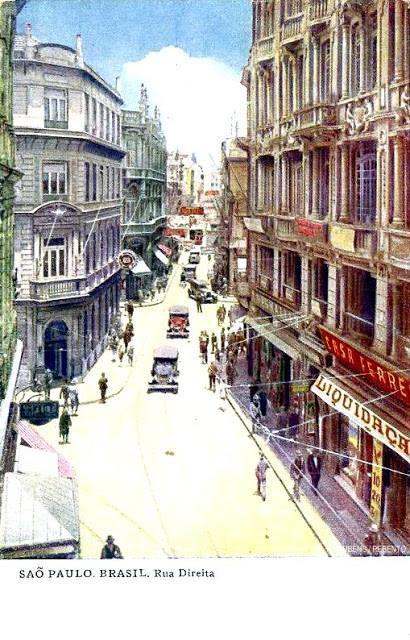 1930 - Rua Direita - ao centro o Largo da Misericórdia - ao fundo a Rua São bento e a Praça do Patriarca - Centro - SP