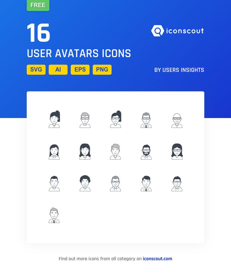 User Avatars Free  Icon Pack - 16 Filled Outline Icons
