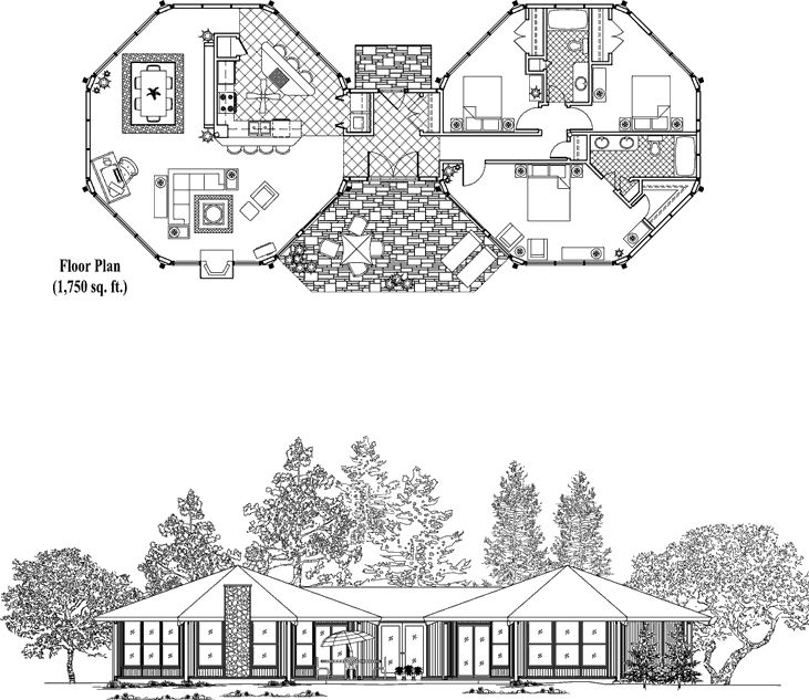 Online House Plan: 1750 sq. ft., 3 Bedrooms, 2 Baths