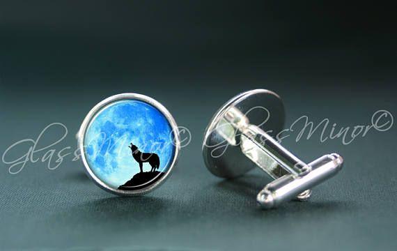 Blue Full Moon Howling Wolf Cufflinks, Galaxy Groomsmen Usher Cufflinks, Wedding Cufflinks, Gift for Him, Geekery Outerspace Lovers Gift