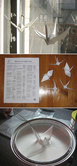 diy décoration origami plastifié. Cela peut se décliner à l'infini et donné l'id de plein de mobile...Paper coated in Plasti Dip - need to get some!