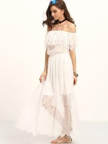 A delicate boho dress for the summer days! We love the lace and the off the shoulder cut for a trendy and girly look ! DESCRIPTION Fabric:Fabric has no stretch Season:Summer Pattern Type:Plain Sleeve