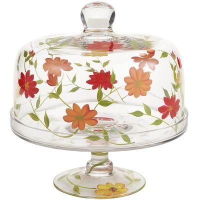 Summer Floral Cake Stand with Dome