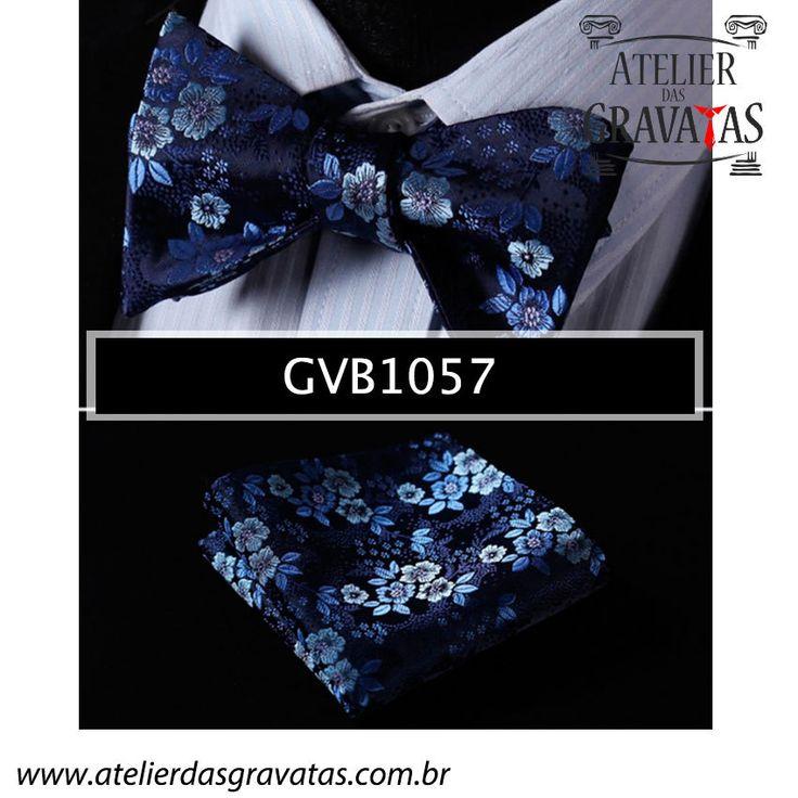Gravata Borboleta Azul de Seda Especial Textura Floral GVB1057 - acompanha lenço…