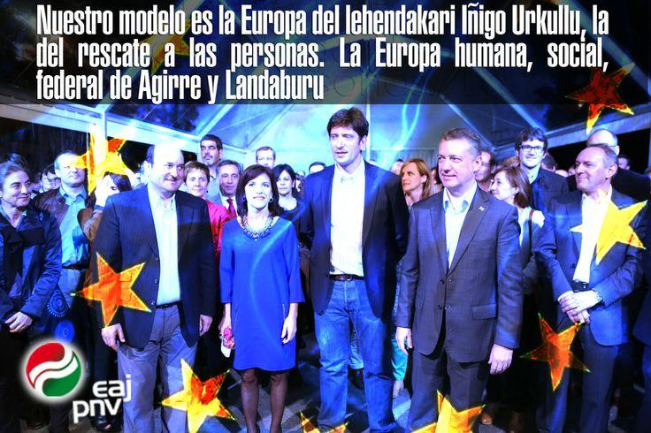 """Izaskun Bilbao: """"Nuestro modelo es la Europa del lehendakari Iñigo Urkullu, la del rescate a las personas. La Europa humana, social, federal de Agirre y Landaburu""""."""