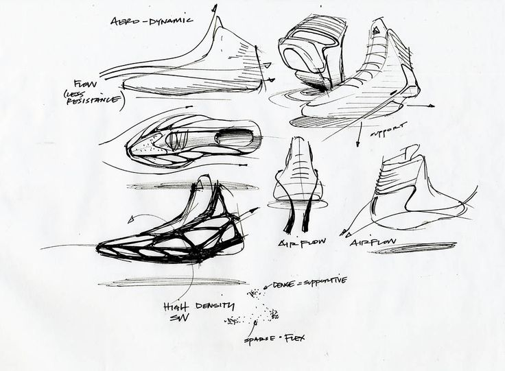 concept sketches: black and white (pencil), different perspectives and line weights