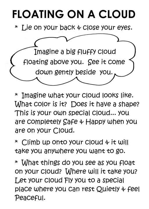 "Yoga relaxation script. Would go perfectly with my ""Little Cloud"" storytime yoga…"