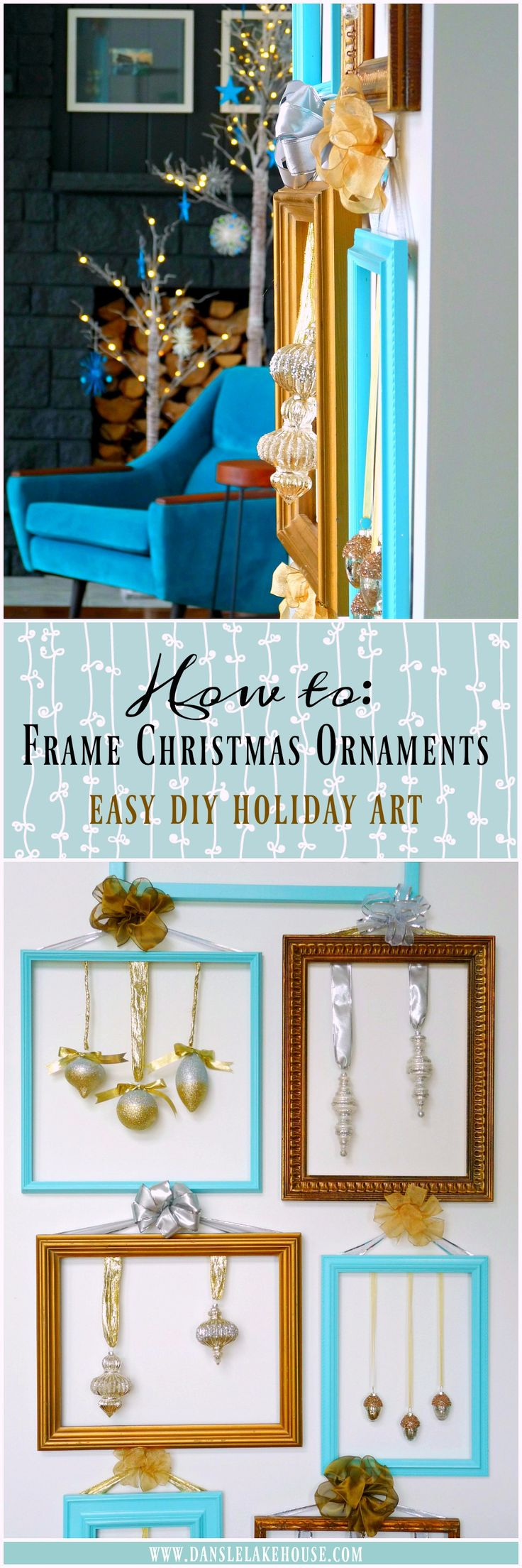 "How to Make ""Framed"" Christmas Ornaments - Such a Cute Idea for Easy Holiday Art // Click Through for Other Unique Ideas for Displaying Ornaments - Alternatives to the Traditional Christmas Tree // Teal Holiday Decor Scheme"