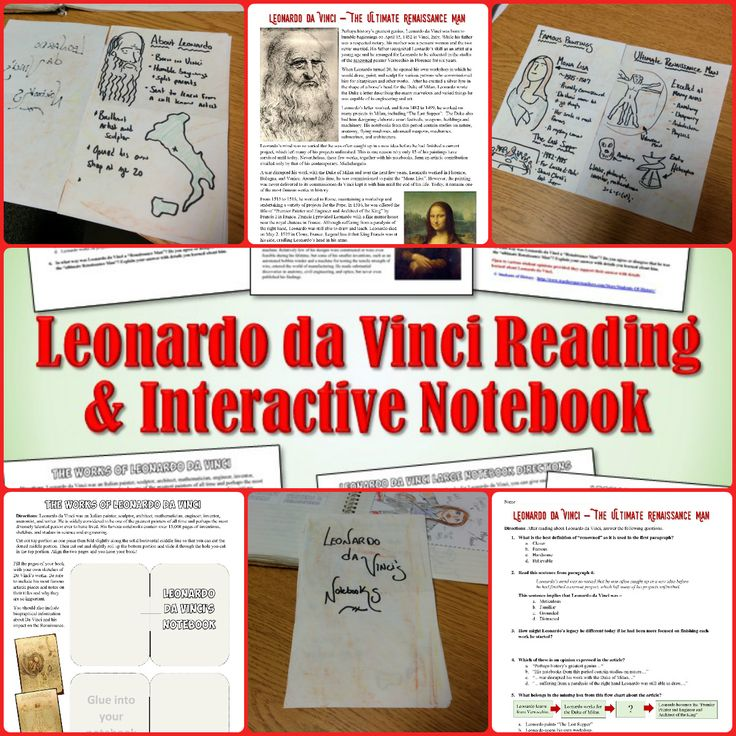 leonardo da vinci reading and interactive notebook activity student centered resources the o. Black Bedroom Furniture Sets. Home Design Ideas