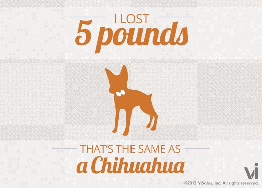 I lost 5 pounds! That is the same as a chihuahua.
