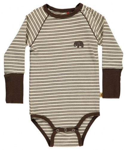 Albababy, Bari body. Bari body is made in soft cream and brown striped jersey. It has a super fit and can be used with any crawlers, pants, spencer, dress or shorts. We love this body under Billie Zipper Crawlers, yellow. The Body is made of 92% cotton and 8% elastane and is Oekotex certified.