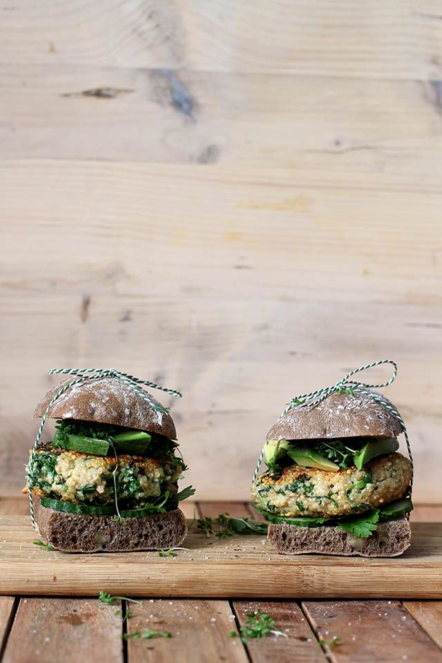 Quinoa kale burger with goat cheese